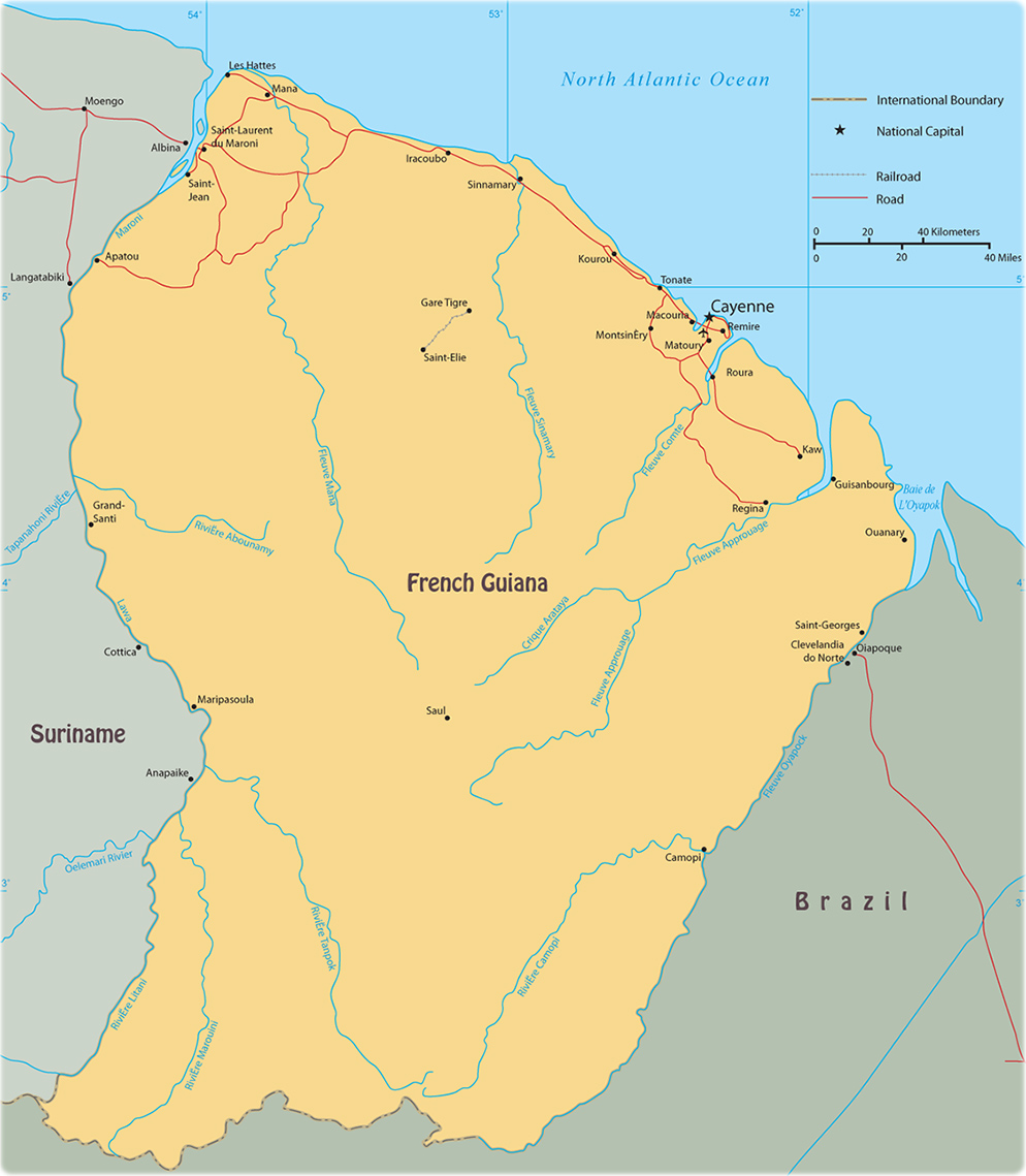 an overview of the french guiana in northeast coast of south america French guiana, lying north of brazil and east of suriname on the northeast coast of south america, was variously settled by the spanish, dutch, and french the treaty of breda awarded france the territory in 1667 the french used it as a penal colony between 1852 and 1939, which included the.