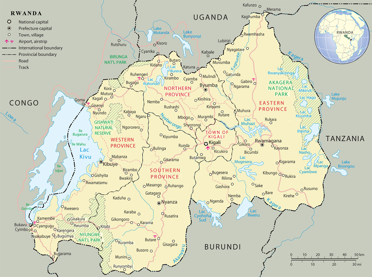 Map of Rwanda   Travel Africa